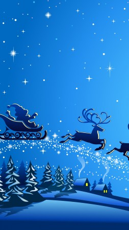 Christmas, New Year, Santa, deer, moon, night, winter, 5k (vertical)