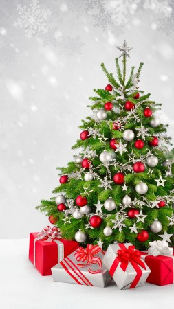 Christmas, New Year, gifts, fir-tree, snow, 5k (vertical)
