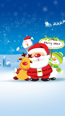 Christmas, New Year, Santa, deer, snowman, penguin, winter, HD (vertical)