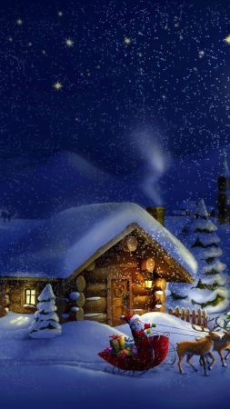 Christmas, New Year, Santa, deer, moon, night, winter, house, snow, 4k (vertical)