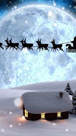 Christmas, New Year, Santa, deer, moon, night, winter, snow, 5k (vertical)