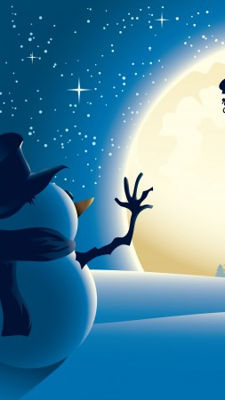 Christmas, New Year, Santa, deer, snowman, moon, winter, 4k (vertical)
