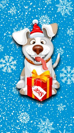 Christmas, New Year, snow, dog, cute animals, 8k (vertical)