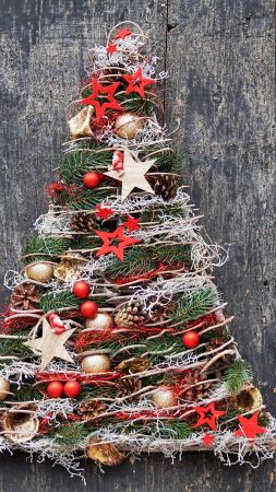 Christmas, New Year, toys, fir-tree, balls, decorations, 5k (vertical)