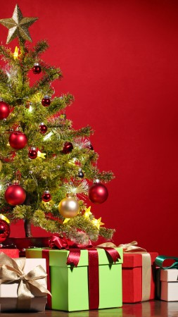 Christmas, New Year, gifts, fir-tree, red, 5k (vertical)