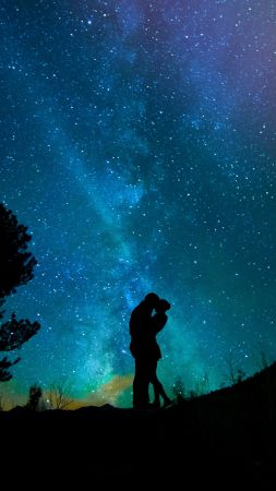love image, kiss, night, sky, stars, 4k (vertical)