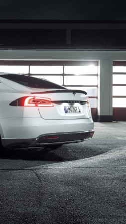 Tesla Model S, electric car, 4k (vertical)