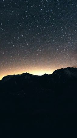 night, sky, mountains, 8k (vertical)