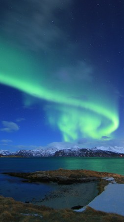 northern lights, Norway, lake, winter, 5k (vertical)