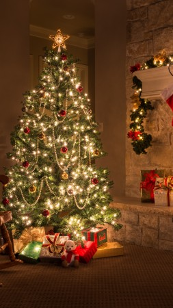 Christmas, New Year, gifts, fir-tree, fireplace, decorations, 5k (vertical)