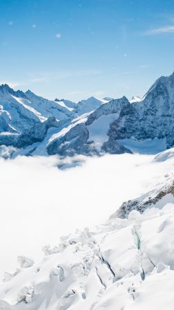 Bernese Alps, mountain, Switzerland, snow, winter, sky, clouds, 4k (vertical)