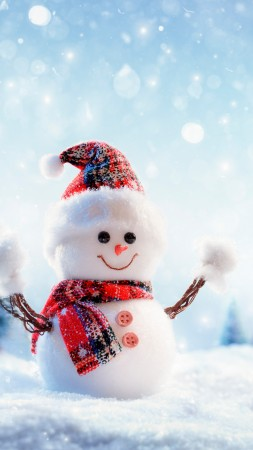 Christmas, New Year, snow, winter, snowman, 8k (vertical)
