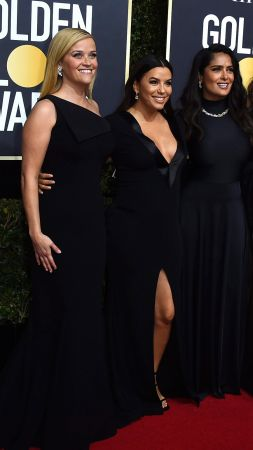 Reese Witherspoon, Eva Longoria, Salma Hayek, Ashley Judd, photo, Golden Globes 2018, 4k (vertical)
