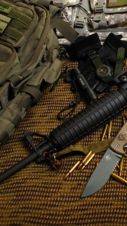 M16 rifle, M16A1, M4A1, U.S. Army, bullets, ammunition, camo (vertical)