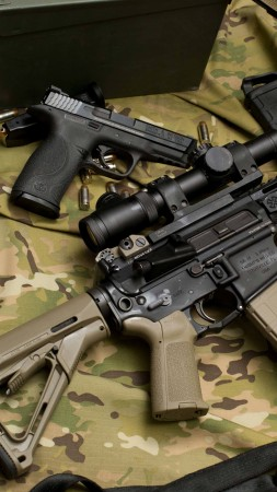 M4, Larue Tactical, assault rifle, MWS, M4A1, custom, scope, silencer, ammunition, camo (vertical)
