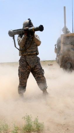 rocket launcher, soldier, firing, AAV, APC, AFV, vehicle, sand, desert (vertical)