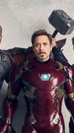 Avengers: Infinity War, Falcon, Iron Man, Thor, Anthony Mackie, Robert Downey Jr., Chris Hemsworth, 5k (vertical)