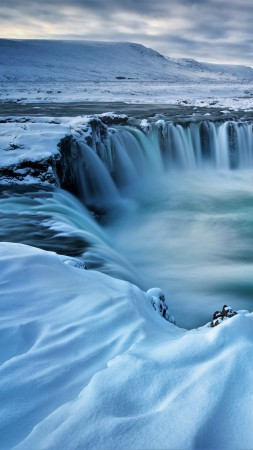 Godafoss, waterfall, winter, Iceland, 5k (vertical)