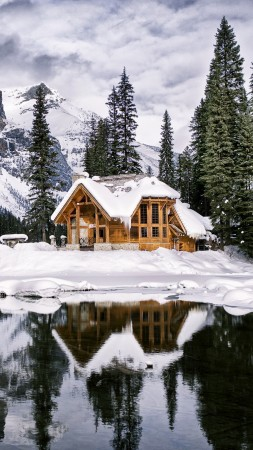 mountains, house, lake, trees, winter, 4k (vertical)