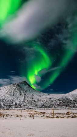 northern lights, sky, winter, mountains, 4k (vertical)