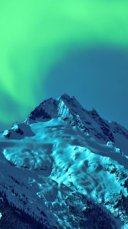 Aurora Borealis, sky, winter, mountains, 5k (vertical)