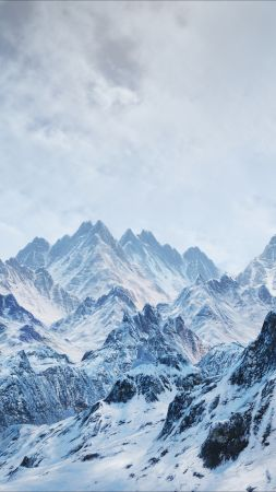 mountains, snow, winter, 4k (vertical)