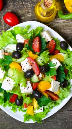 Greek, cooking, recipe, lettuce, tomatoes, paprika, olives, feta, 4k (vertical)