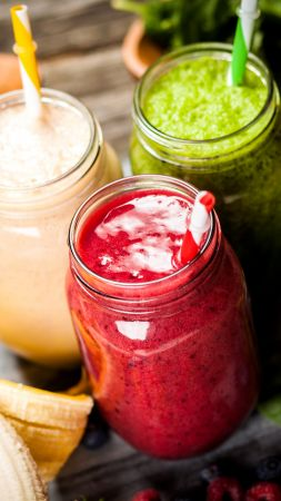 smoothies, strawberry, banana, mint, delicious, 5k (vertical)