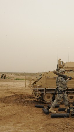 M113, Bradley, armored personnel carrier, soldier, APC, ACAV, M113A3, U.S. Army, firing (vertical)