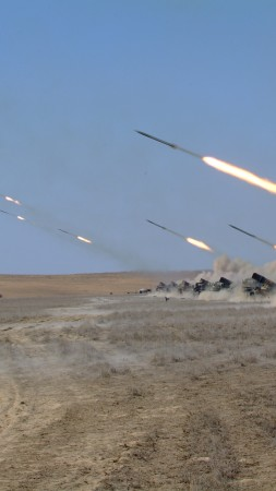 Naiza, MRL, multiple rocket launcher, artillery, Kazakhstan Armed Forces, desert, firing (vertical)