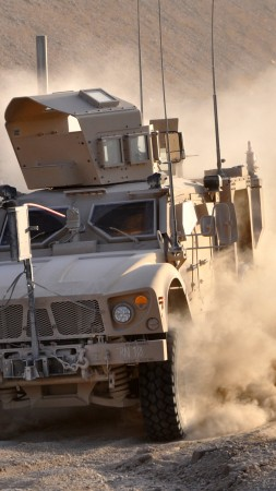 M-ATV, Oshkosh, MRAP, TerraMax, infantry mobility vehicle, field, desert, dust (vertical)
