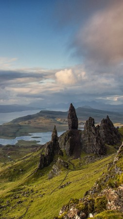 Isle of Skye, Scotland, Europe, nature, mountains, sky, 4k (vertical)