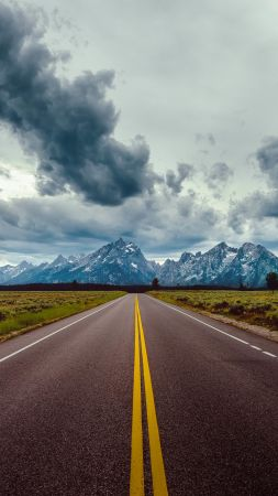 road, sky, clouds, mountains, 8k (vertical)