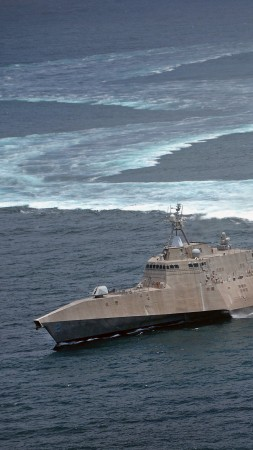 USS Independence, lead ship, LCS-2, Independence-class, littoral, combat ship, corvette, U.S. Navy (vertical)