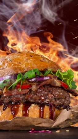 burger, steak, fire, fast food, pepper, 5k (vertical)