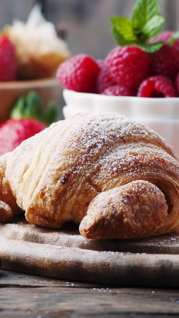 French croissants, fruit, berries, strawberry, raspberry, delicious, 4k (vertical)