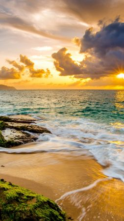 Hawaii, sunset, beach, ocean, coast, sky, 4k (vertical)