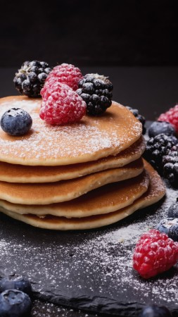 pancake, blueberry, berries, blackberry, raspberry, delicious, 4k (vertical)
