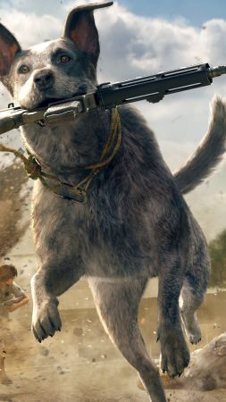 Far Cry 5, screenshot, dog, 5k (vertical)