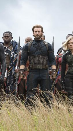 Avengers: Infinity War, Black Widow, Captain America, Black Panther, Chadwick Boseman, Scarlett Johansson, Chris Evans, 5k (vertical)