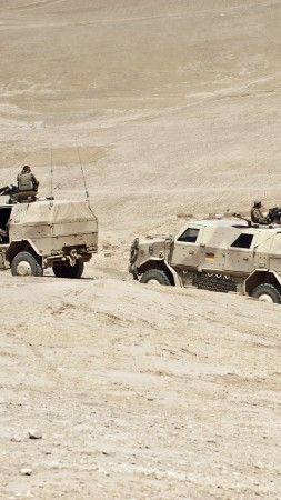 ATF Dingo, KMW, infantry mobility vehicle, MPPV PC, convoy, Afghanistan, Bundeswehr (vertical)