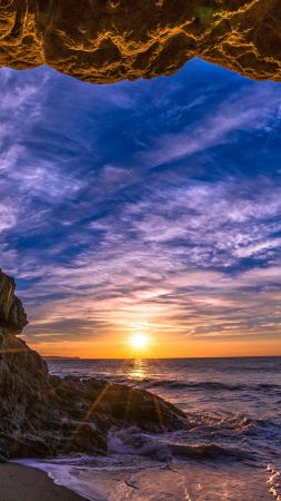 Malibu, California, sunset, beach, ocean, coast, sky, 5k (vertical)