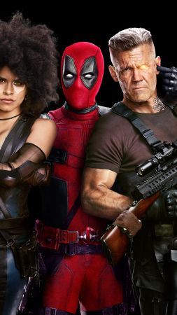 Deadpool 2, Zazie Beetz, Ryan Reynolds, Josh Brolin, 4k (vertical)