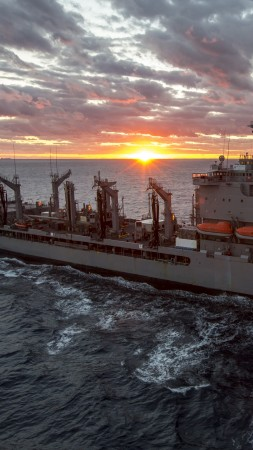 USNS John Lenthall, T-AO 189, Military Sealift Command, atlantic ocean, BA14, U.S. Navy, sea, sunset