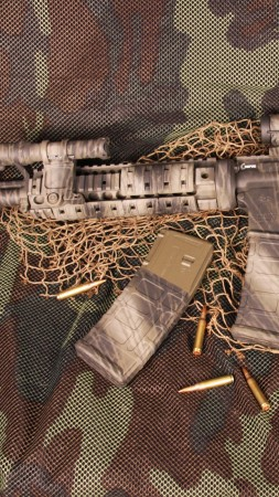 AR-15, rifle, U.S. Armed Force, semi-automatic, multicam, camo, ammunition (vertical)