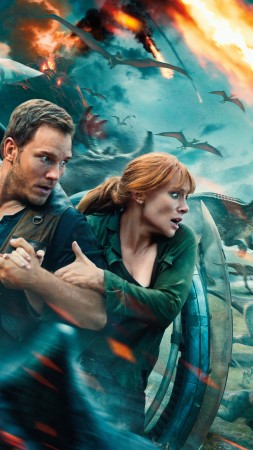 Jurassic World: Fallen Kingdom, Chris Pratt, Bryce Dallas Howard, dinosaur, 5k (vertical)