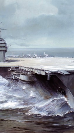 USS Saratoga, CVA 60, CVB-60, carrier, Forrestal-class, aircraft, art, painting (vertical)