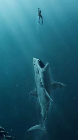 The Meg, shark, 4k (vertical)