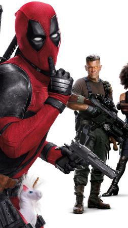 Deadpool 2, Zazie Beetz, Ryan Reynolds, Josh Brolin, 8k (vertical)