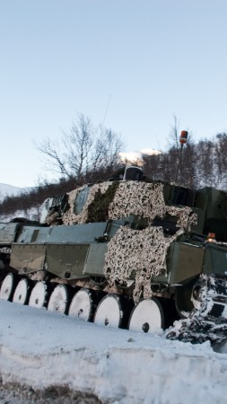 Leopard 2, 2a6m, 2A5, MBT, tank, Norway, forest, camo, winter (vertical)